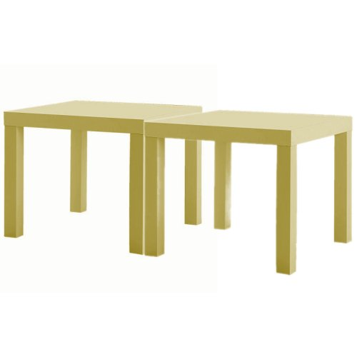 Large picture of Two yellow 'Lack' side tables